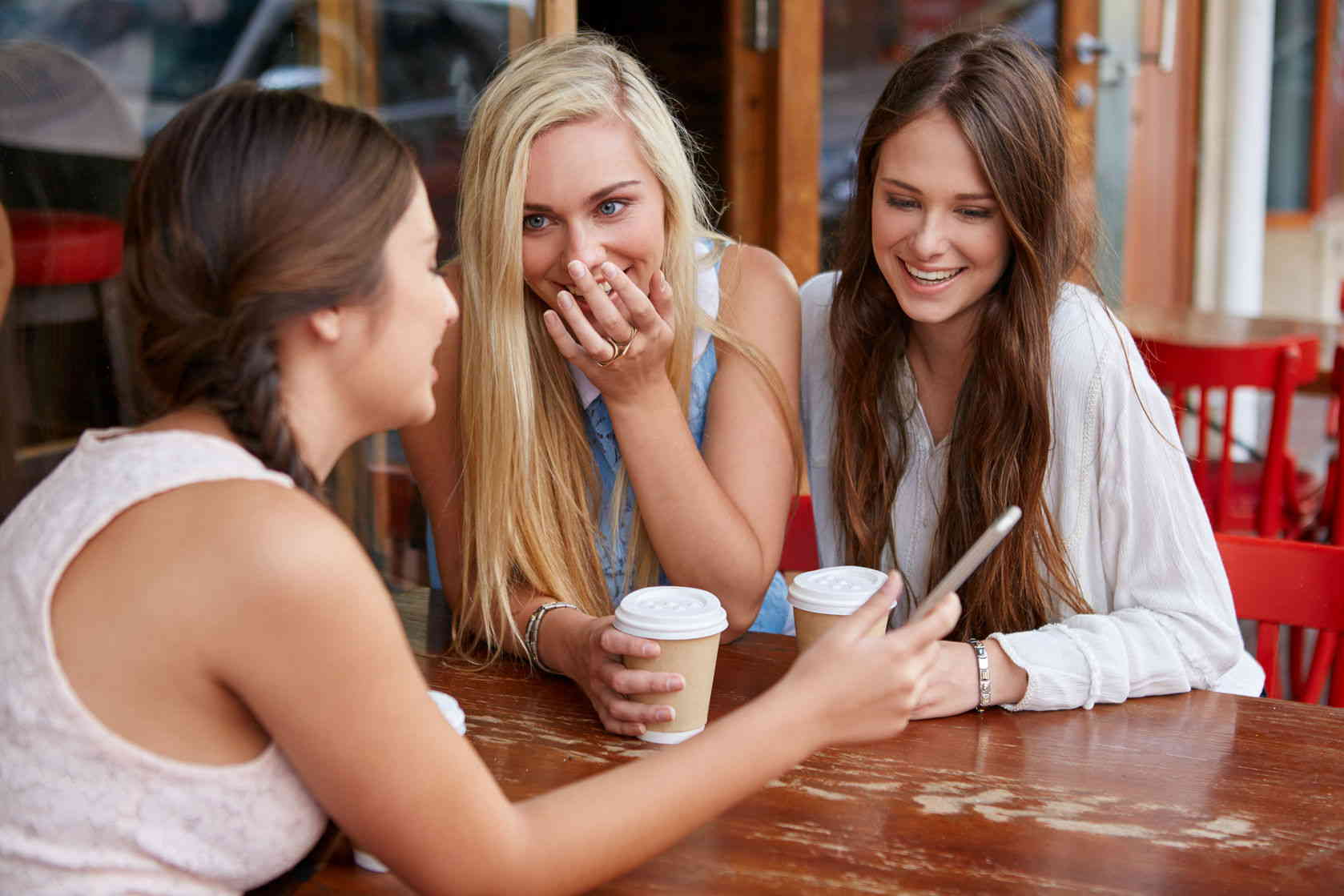 Young girls having coffe at outdoor cafe